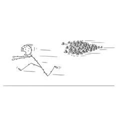 cartoon of man running away from attacking swarm vector image