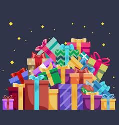 christmas cartoon gift box new year pile gifts vector image