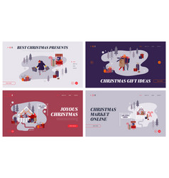 christmas market internet advertisement set of vector image