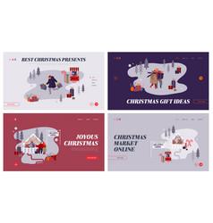 christmas market internet advertisement set vector image