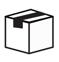 closed cube box icon on white background flat vector image