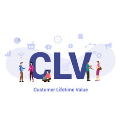 Clv customer lifetime value concept with big word vector