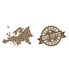 Collage map of europe with coffee beans and vector