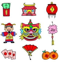Collection Chinese New Year of doodles vector