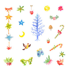 Collection of little watercolor christmas vector
