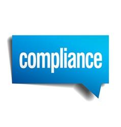 Compliance blue 3d realistic paper speech bubble vector