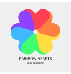 Conceptual single logo with a heart shapes vector image