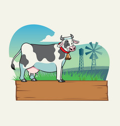 cow in the farm with blank wooden board vector image