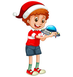 cute boy wearing christmas hat and playing vector image