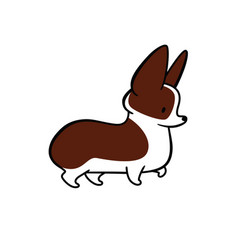 Cute cartoon drawing of welsh corgi vector