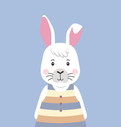 Cute rabbit in striped dress cartoon character vector