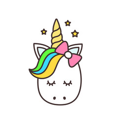 Cute unicorn cartoon character vector