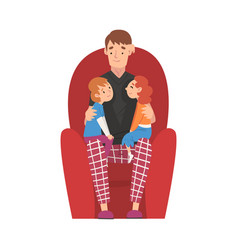 Dad sitting on armchair with son and daughter vector