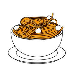 Delicious italian pasta icon vector