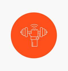 Dumbbell gain lifting power sport white line icon vector