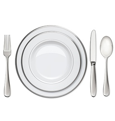 Empty plates with silver rims spoon fork knife vector image