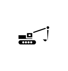 excavator icon solid vehicle and transportation vector image