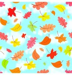 falling leaves across blue sky seamless pattern vector image
