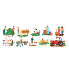 Farming people harvesting seasonal activity set vector