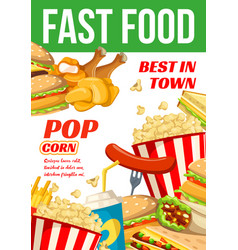 Fast food restaurant or bistro poster vector