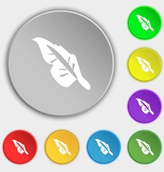 Feather icon sign Symbol on eight flat buttons vector