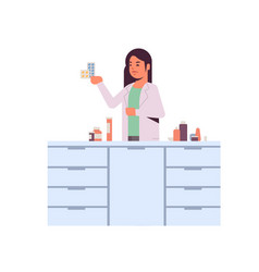 female scientific researcher holding drugs vector image