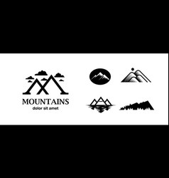 flat black mountain logo set template vector image