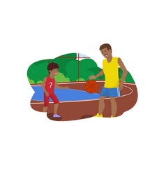 flat dad teaches son play in basketball vector image