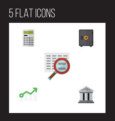 Flat icon incoming set of bank growth scan and vector