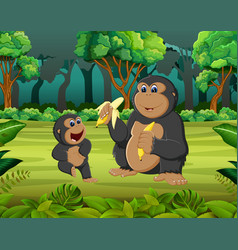 forest background with two gorilla eating vector image
