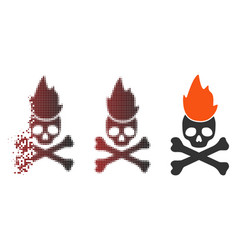 fragmented pixel halftone hell fire icon vector image