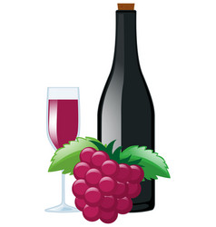 fresh grapes and juice in bottle vector image
