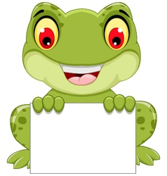 Funny frog cartoon sitting holding a blank sign vector