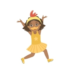 Girl Wering Duck Animal Costume vector