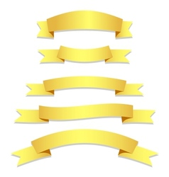 Gold Ribbons Flags vector