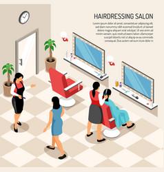 Hair dressing salon isometric vector