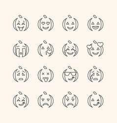 halloween flat and line emoticon face icons set vector image