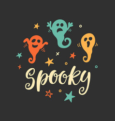 halloween party poster with spooky ghosts doodles vector image