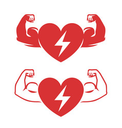 Heart and arms with biceps symbol medicine vector