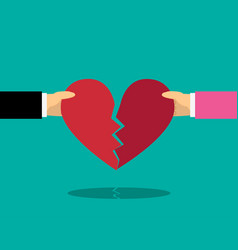 heart break with male and female hand vector image