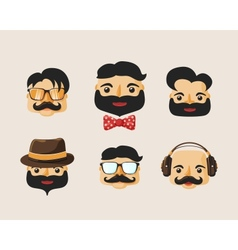 Hipster characters pack with facial emotions vector image