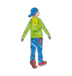 Hipster man back view in casual clothes vector