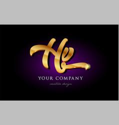 hv h v 3d gold golden alphabet letter metal logo vector image