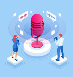 isometric speech battle and digital sound wave vector image