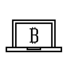 Laptop computer with bitcoin vector