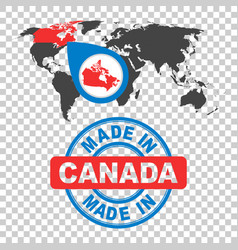 made in canada stamp world map with red country vector image