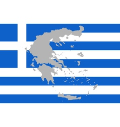 Map and flag of Greece vector
