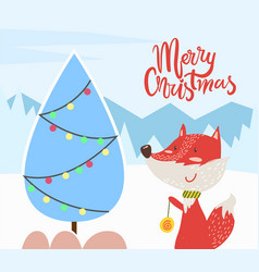 merry christmas fox and pine tree greeting card vector image