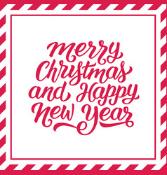 merry christmas hand lettering background vector image