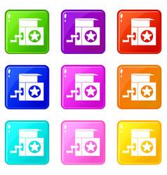 Music box icons 9 set vector